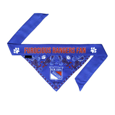 New York Rangers Pet Reversible Paisley Bandana