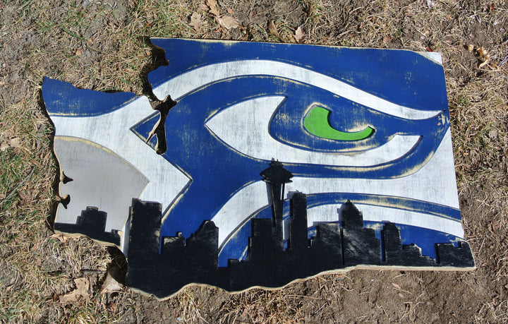 Seattle Seahawks Logo with Seattle Skyline cut in the shape of Washington state