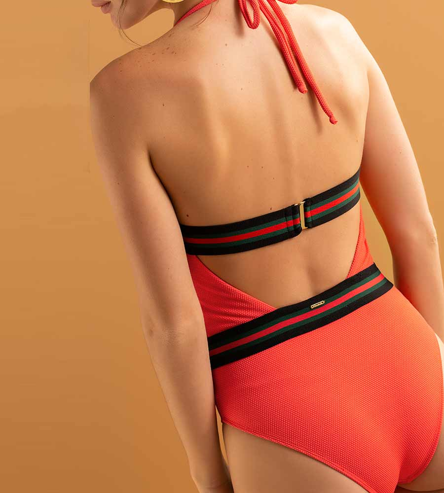 STRAWBERRY FIELDS HALTER ONE PIECE BY TOUCHE