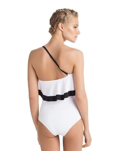 WHITE TRUFFLE ONE SHOULDER ONE PIECE TOUCHE 0E79081