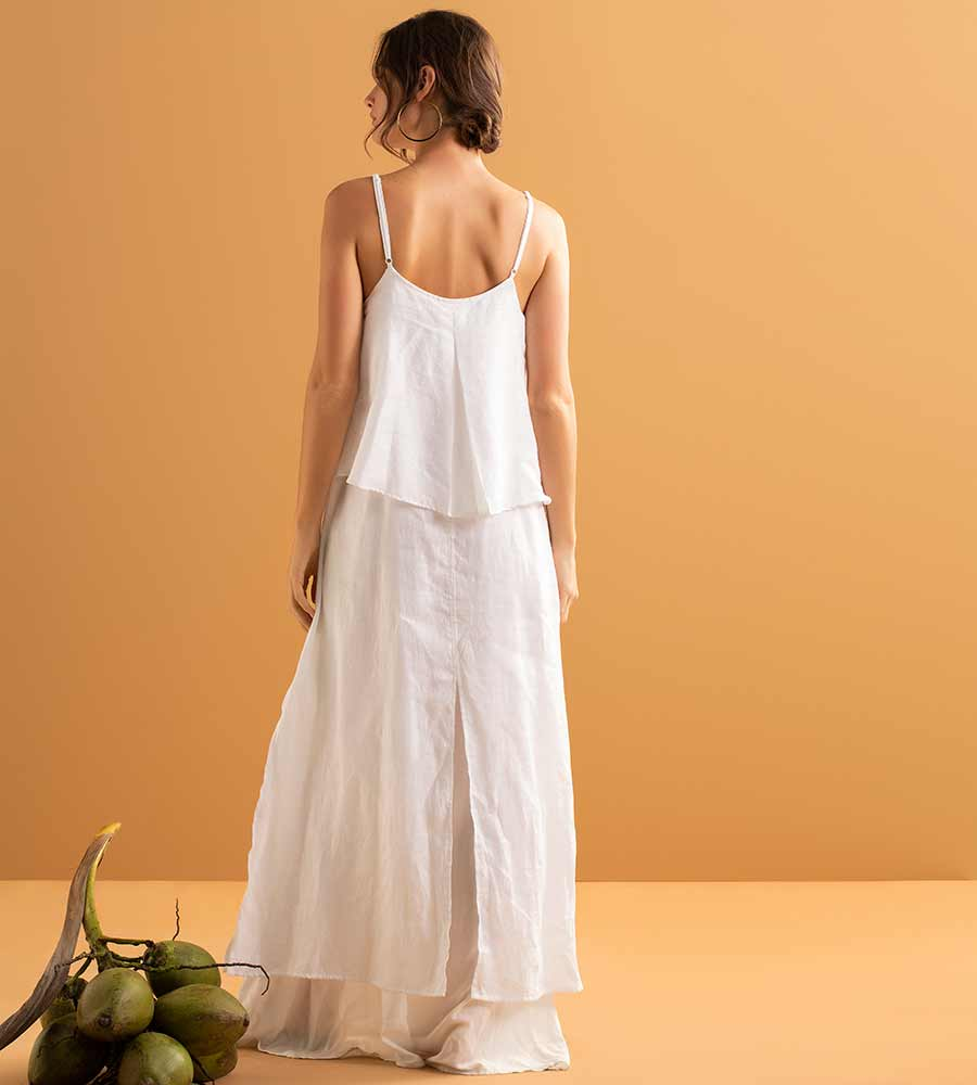WHISPER WHITE TIERED LONG DRESS BY TOUCHE