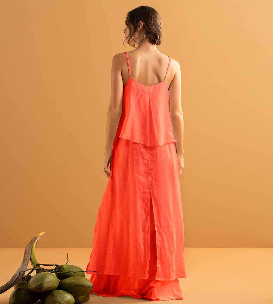 ELECTRIC CORAL LONG DRESS BY TOUCHE