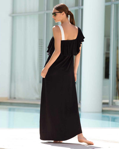 ONE SHOULDER RUFFLE MAXI DRESS TOUCHE 0F40072