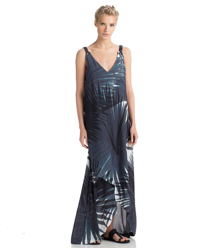 INDIGO PALM MAXI DRESS TOUCHE 0F44081