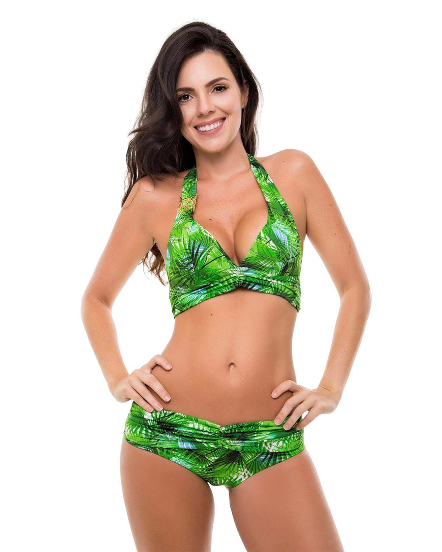 TROPICAL LEAVES DRAPED BOTTOM ZUE SWIMWEAR 214/TOPICAL