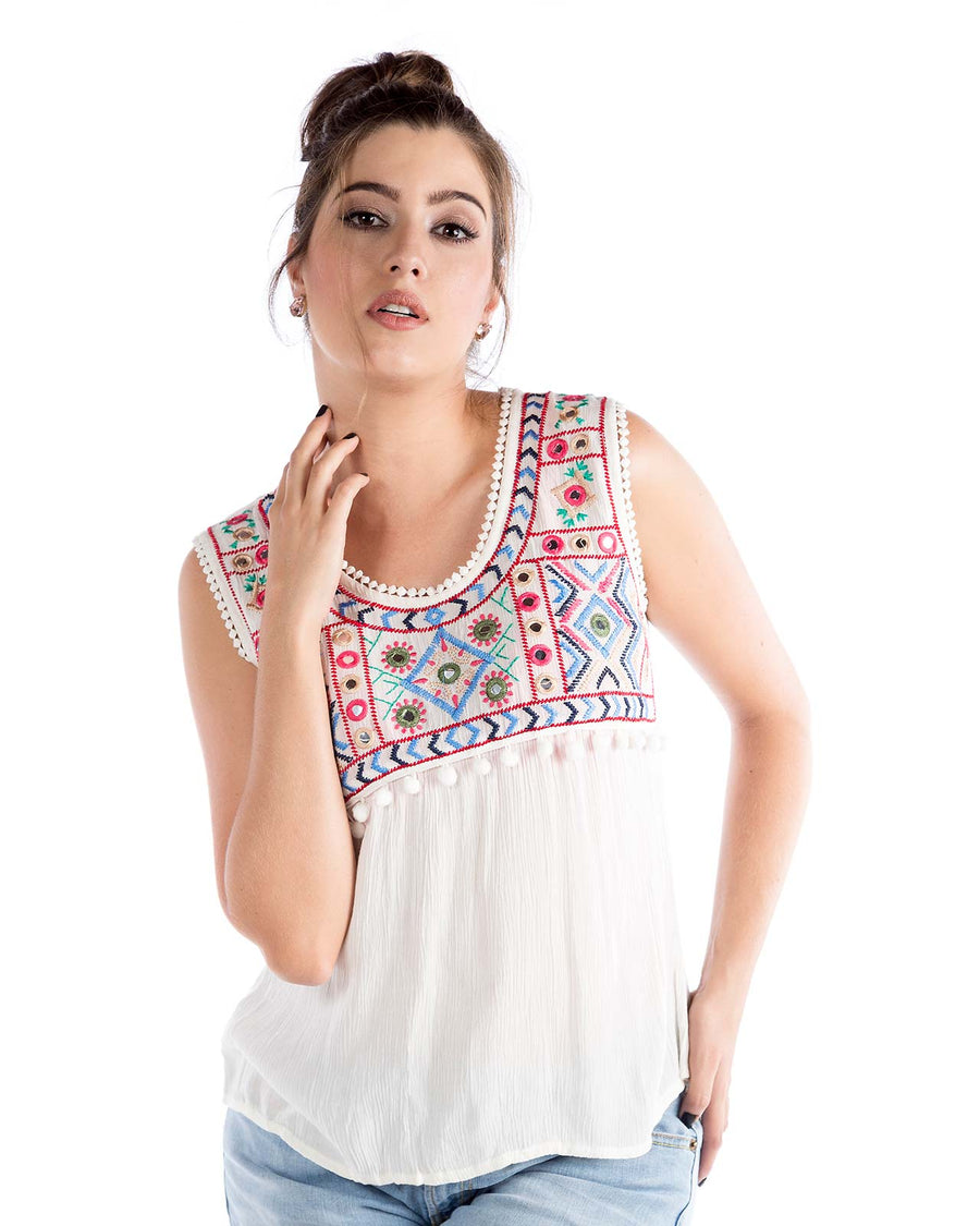 EMBROIDERED TANK PRAIAVE 1267