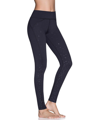 DAZEFUL SPOTTED BLACK EMANA MID RISE FULL LEGGING MAAJI 1813ALL02