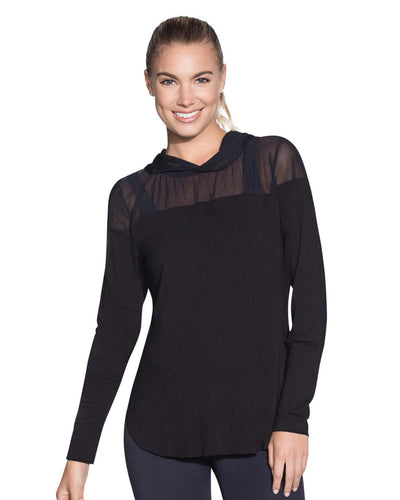 SHEER WAVES BLACK HOODED LONG SLEEVE LAYER MAAJI 1834ALY01