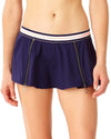 ELASTIC SOLIDS NAVY ZIP SKIRTED BIKINI BOTTOM ANNE COLE 18LB40101-NAVY
