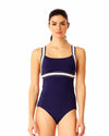 ELASTIC SOLIDS NAVY XBACK ONE PIECE ANNE COLE 18LO00501-NAVY
