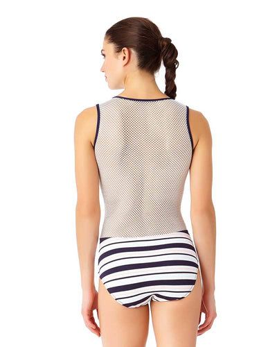 SNAP OUT OF IT HENLEY MESH BACK ONE PIECE ANNE COLE 18LO01002-MULT