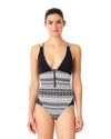 FLOWER MESH ONE PIECE ANNE COLE 18LO01377-BKWH