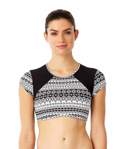FLOWER MESH CROP TOP ANNE COLE 18LT11177-BKWH