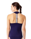 ELASTIC SOLIDS NAVY RACER BACK TANKINI TOP ANNE COLE 18LT20601-NAVY