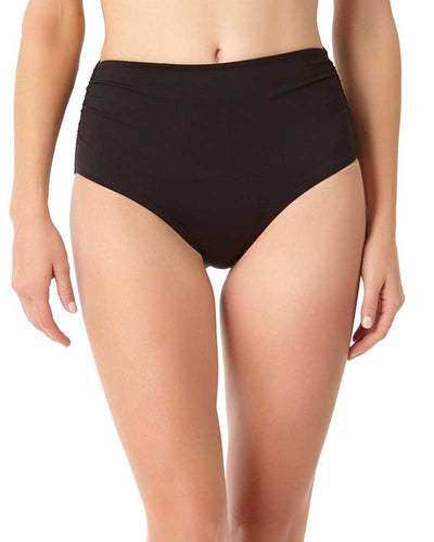 LIVE IN COLOR BLACK NOIRE CONVERTIBLE SHIRRED HIGH RISE BIKINI BOTTOM ANNE COLE 18MB36001-BLK