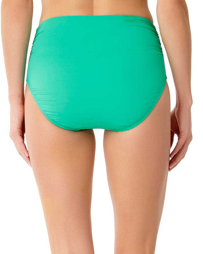 LIVE IN COLOR ACE OF JADES CONVERTIBLE SHIRRED HIGH RISE BIKINI BOTTOM ANNE COLE 18MB36001-JAD