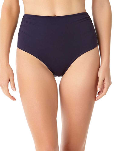 LIVE IN COLOR NEW NAVY CONVERTIBLE SHIRRED HIGH RISE BIKINI BOTTOM ANNE COLE 18MB36001-NAVY