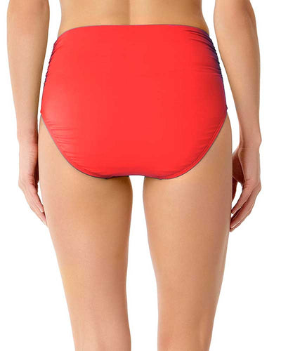 LIVE IN COLOR FIREBALL CONVERTIBLE SHIRRED HIGH RISE BIKINI BOTTOM ANNE COLE 18MB36001-RED