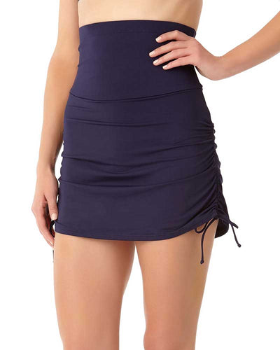 LIVE IN COLOR NEW NAVY CONTROL HIGH WAIST SWIM SKIRT ANNE COLE 18MB41701-NAVY