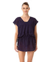 CROCHET ALL DAY NAVY CROCHET TUNNEL TIE TUNIC ANNE COLE 18MC51403-NAVY