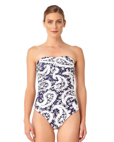 PATTIE PAISLEY SHIRRED BANDEAU ONE PIECE ANNE COLE 18MO00258-NAWH