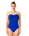 LIVE IN COLOR BLUEBERRY MUFFIN TWIST FRONT SHIRRED BANDEAU ONE PIECE ANNE COLE 18MO00501-BLBE