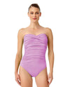 LIVE IN COLOR LILAC-ING TIME TWIST FRONT SHIRRED BANDEAU ONE PIECE ANNE COLE 18MO00501-LIL