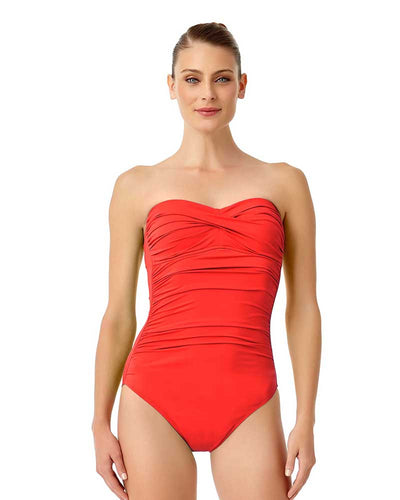 LIVE IN COLOR FIREBALL TWIST FRONT SHIRRED BANDEAU ONE PIECE ANNE COLE 18MO00501-RED