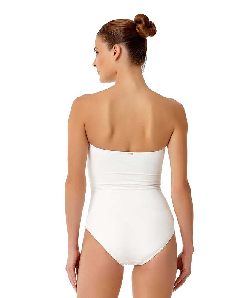 LIVE IN COLOR WHITE TWIST FRONT SHIRRED BANDEAU ONE PIECE BY ANNE COLE