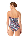 LAZY DAISY NAVY TWIST FRONT SHIRRED BANDEAU ONE PIECE ANNE COLE 18MO00560-NAVY