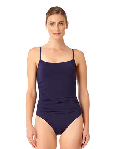 LIVE IN COLOR NEW NAVY SHIRRED LINGERIE MAILLOT ANNE COLE 18MO05701-NAVY