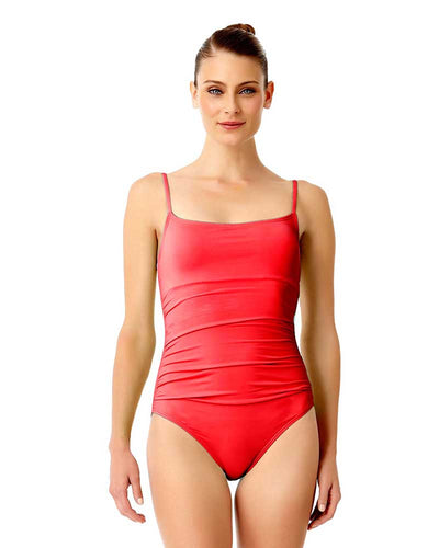 LIVE IN COLOR FIREBALL SHIRRED LINGERIE MAILLOT ANNE COLE 18MO05701-RED