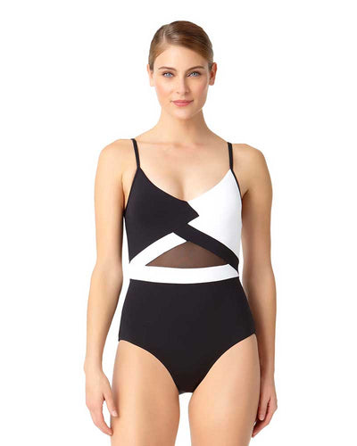 HOT MESH COLORBLOCK MESH MAILLOT ANNE COLE 18MO07804-BKWH