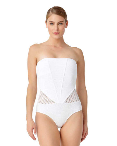 CROCHET ALL DAY WHITE CROCHET BANDEAU ONE PIECE ANNE COLE 18MO08103-WHT