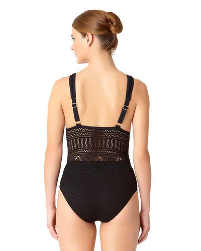 CROCHET ALL DAY BLACK CROCHET PLUNGE MAILLOT ANNE COLE 18MO08203-BLK