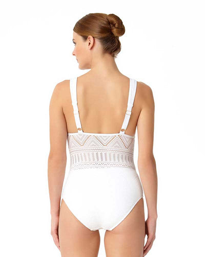 CROCHET ALL DAY WHITE CROCHET PLUNGE MAILLOT ANNE COLE 18MO08203-WHT