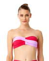 LIVE IN COLOR PINK TWIST FRONT BANDEAU BRA TOP ANNE COLE 18MT10101-PKCB