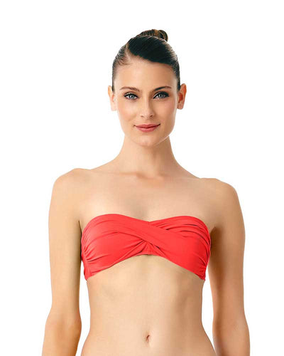LIVE IN COLOR FIREBALL TWIST FRONT BANDEAU BRA TOP ANNE COLE 18MT10101-RED