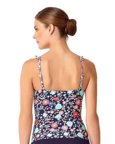 LAZY DAISY NAVY FLOUNCE UNDERWIRE TANKINI TOP ANNE COLE 18MT20260-NAVY