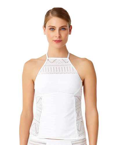 CROCHET ALL DAY WHITE CROCHET HIGH NECK TANKINI TOP ANNE COLE 18MT23403-WHT