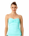 LIVE IN COLOR TURQS AND CAICOS TWIST FRONT BANDEAU-KINI TOP ANNE COLE 18MT25001-TURQ