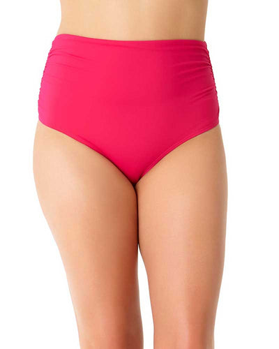 LIVE IN COLOR BERRIED TREASURES SHIRRED HIGH WAIST BIKINI BOTTOM ANNE COLE 18PB36001-BERY