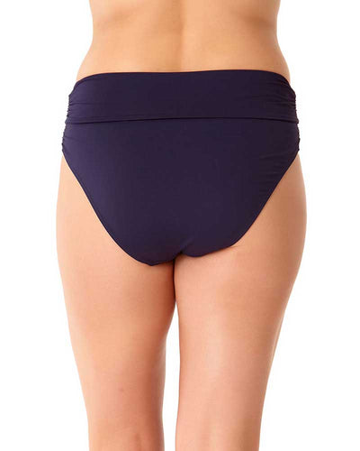 LIVE IN COLOR NEW NAVY SHIRRED HIGH WAIST BIKINI BOTTOM ANNE COLE 18PB36001-NAVY