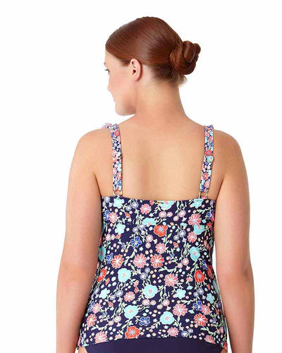 LAZY DAISY NAVY FLOUNCE UNDERWIRE TANKINI TOP ANNE COLE 18PT20260-NAVY