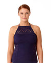 CROCHET ALL DAY NAVY CROCHET HIGH NECK TANKINI TOP ANNE COLE 18PT23403-NAVY