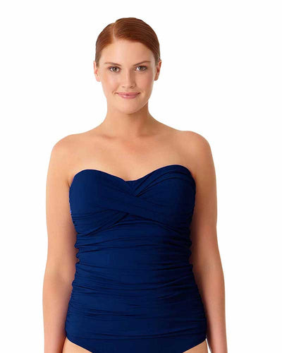 LIVE IN COLOR NEW NAVY TWIST FRONT BANDEAU-KINI TOP ANNE COLE 18PT25001-NAVY