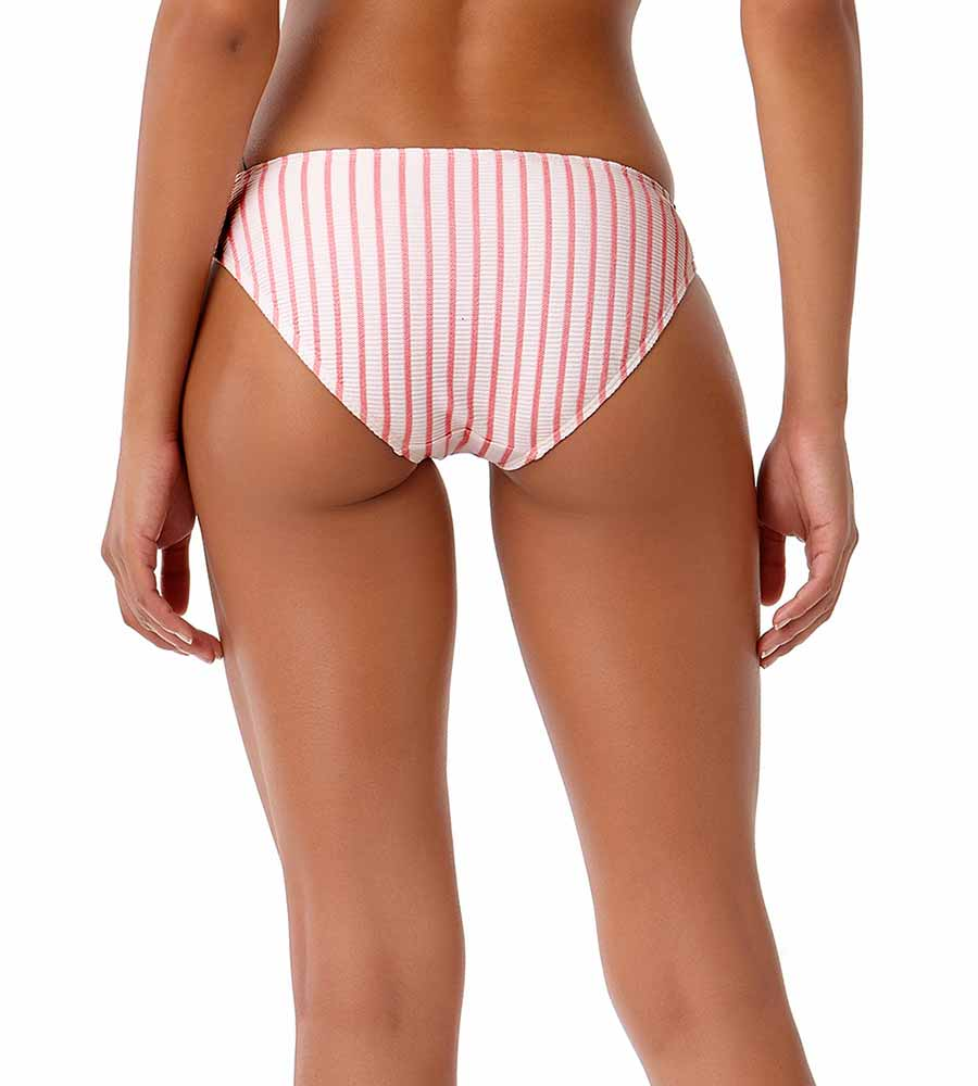 BEACH BUNNY CORAL STRIPE BIKINI BOTTOM BY ANNE COLE