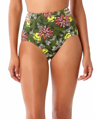 HAPPY STRAPPY GREEN HIGH WAIST BIKINI BOTTOM ANNE COLE 18SB32863-GRPR