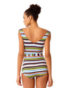 COMIC STRIPE SASH ONE PIECE ANNE COLE 18SO01665-MULT