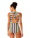 COMIC STRIPE MOCK NECK ONE PIECE ANNE COLE 18SO01765-MULT